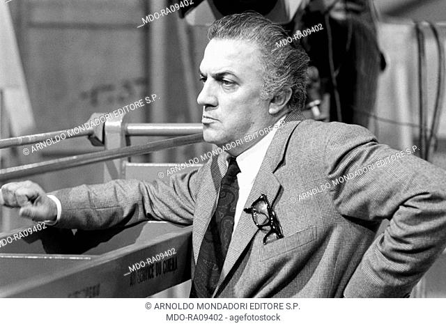 Italian director Federico Fellini during the reharsal of a TV show. 1960s