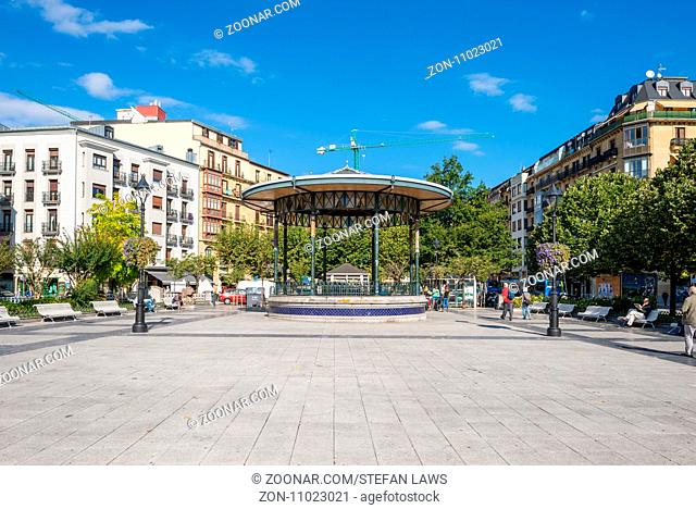 Bandstand at the public square Plaza Easo. The picturesque pavilion, Spanish, Kiosko de la Plaza de Easo, is in inner city and close to the Amara train station...