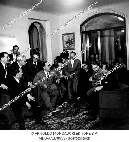 Dino Olivieri, Pinchi, Carlo Donida Labati, Nino Rastelli, Umberto Bertini, Vittorio Mascheroni and Guido Viezzoli at the Sanremo Music Festival