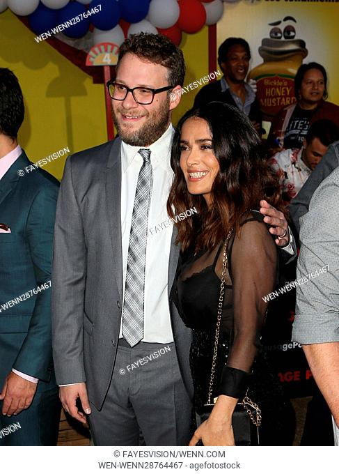 Premiere of Sony's 'Sausage Party' at Regency Village Theatre - Arrivals Featuring: Seth Rogen, Salma Hayek Where: Westwood, California