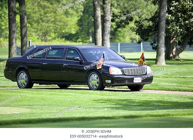 Black Presidential Limo and American Flag on golf course in Williamsburg, Virginia on May 4, 2007