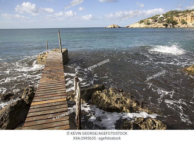 Pier at Cala Hort Cove, Ibiza; Spain
