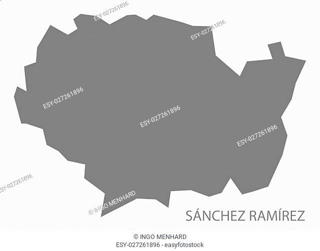 Sanchez Ramirez Dominican Republic Map in grey