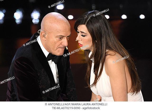 Virginia Raffaele, Claudio Bisio during 69th Festival of the Italian Song, Sanremo third evening. Sanremo, Italy 07 Febr 2019