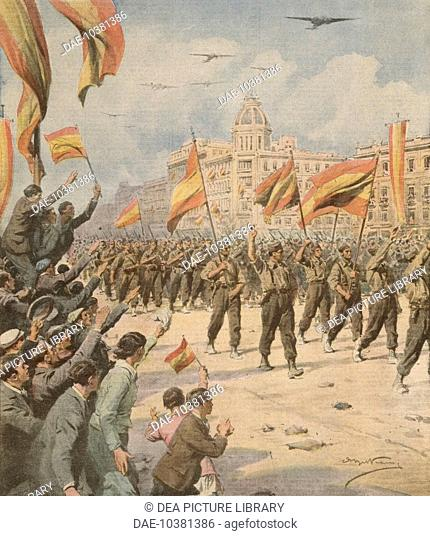 Franco's Spain entering Madrid with its victory flags. Achille Beltrame (1871-1945) from La Domenica del Corriere April 2, 1939