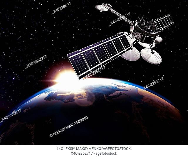 Communication satellite, Comsat above Earth globe lit by the rising Sun on black starry sky background. Space internet and telecommunications concept
