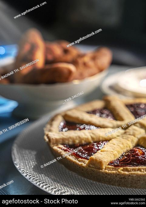 Traditional Icelandic cakes, rhubard pie and kleinur, Iceland