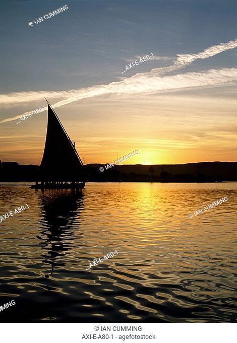 Felucca on River Nile at dusk, Aswan, Egypt