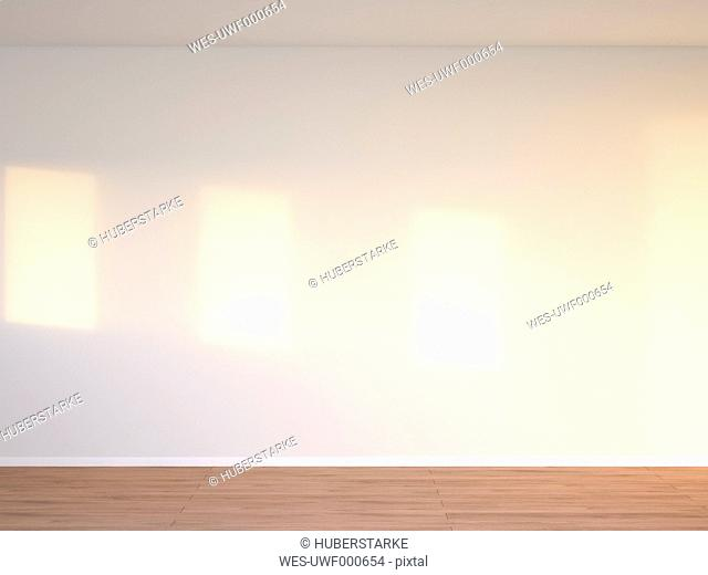 3D rendering of interior concrete wall and wooden floor