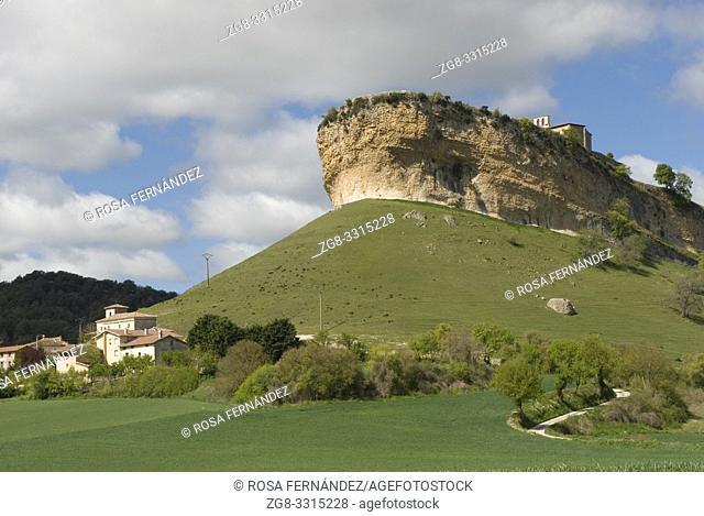 Village of San Pantaleon de Losa and peculiar limestone formation of Peña Colorada, Valley of Losa, Las Merindades, province of Burgos, Castilla y Leon, Spain