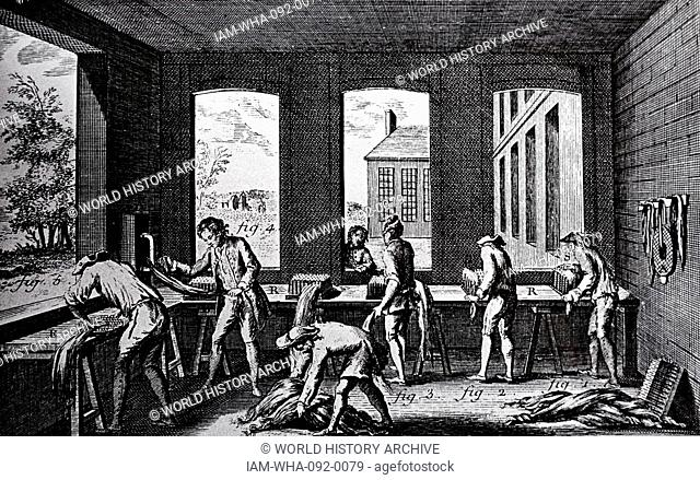 Removing unwanted tissue from hemp, preparing it to make rope. Dated between 1751-1780