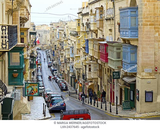 Island Malta, Mediterranean Sea, Old town of Valetta with typical balconies