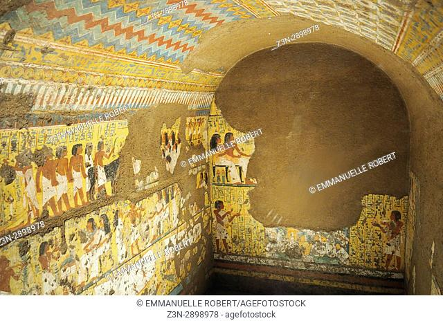 Saqqara, Necropolis. Interior at tomb of Maya, Egyptian museum, Turin, Italy, Europe