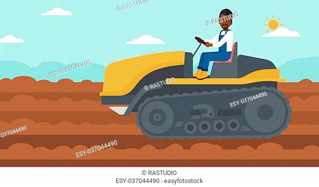 An african-american man driving a catepillar tractor on a background of plowed agricultural field vector flat design illustration. Horizontal layout