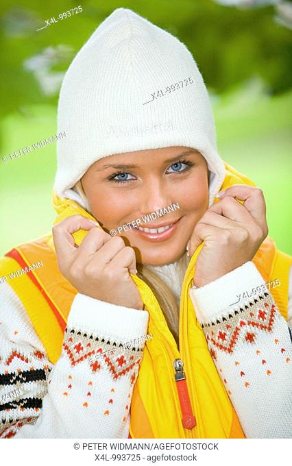 woman in autumn with cap