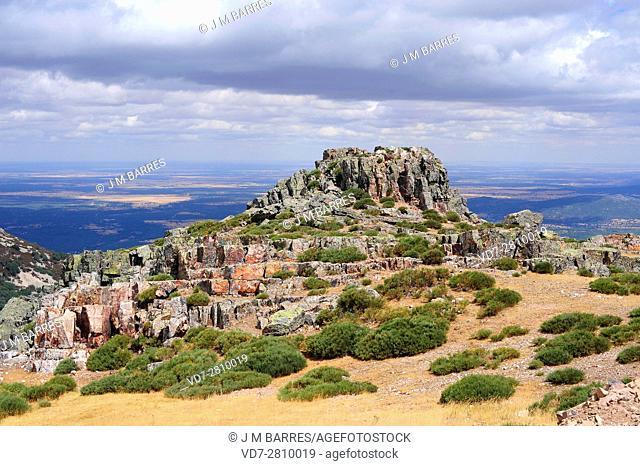 Quartzite is a metamorphic rock composed for quartz sandstone. This photo was taken in Pena de Francia, Salamanca, Castilla y Leon, Spain