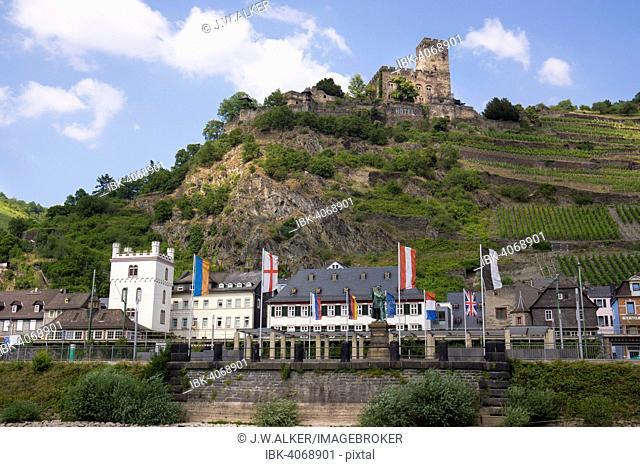 Kaub, behind Gutenfels Castle, UNESCO World Heritage Upper Middle Rhine Valley, near St. Goarshausen, Rhineland-Palatinate, Germany