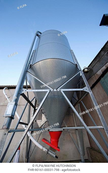 Auger on bottom of animal feed store to send concentrates to milking parlour, Cumbria, England, February