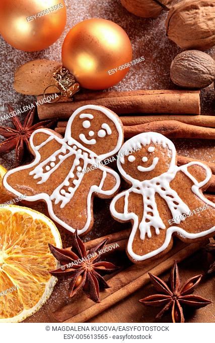 Christmas gingerbread man and spices