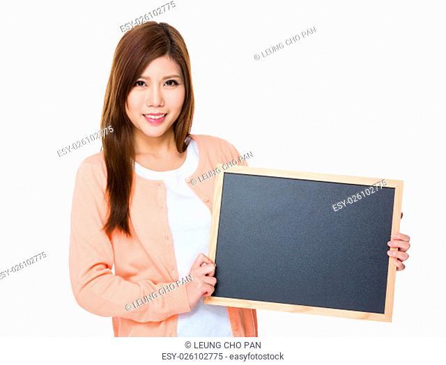 Woman show with blackboard