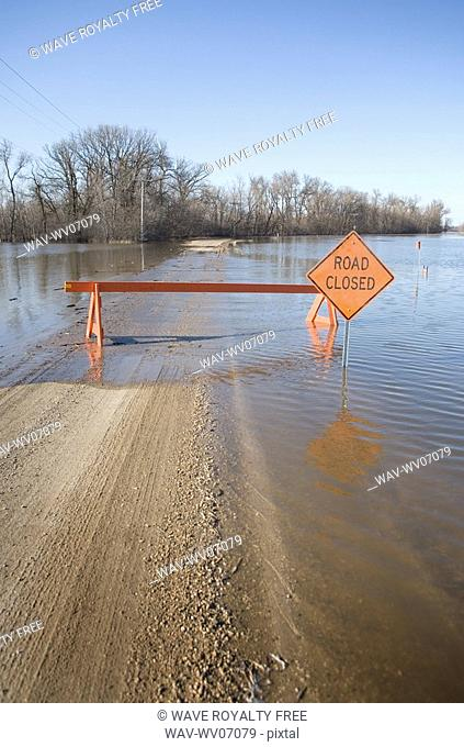 Road is closed due to Red River flooding in rural Manitoba