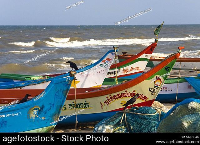 Fishing boats at Marina Beach, Chennai, Tamil Nadu, India, Asia