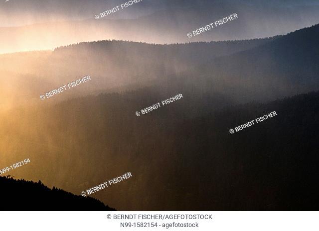 Rain and sunshine in the Vosges mountains, Col de la Schlucht, Alsace, France