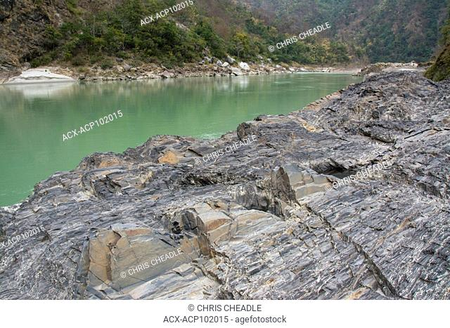 Ganges river shoreline, Upriver from Rishikesh, Uttarakhand, India