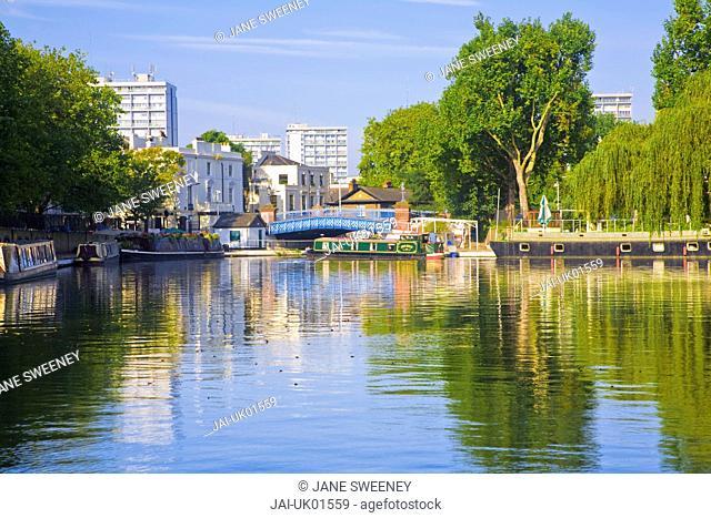 England, London, Maida Vale, Little Venice, Canal boats