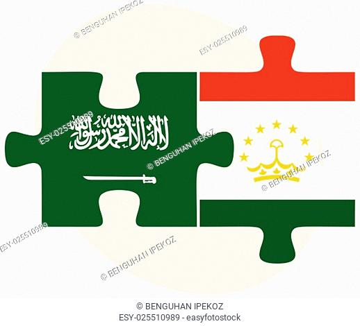 Saudi Arabia and Tajikistan Flags in puzzle isolated on white background