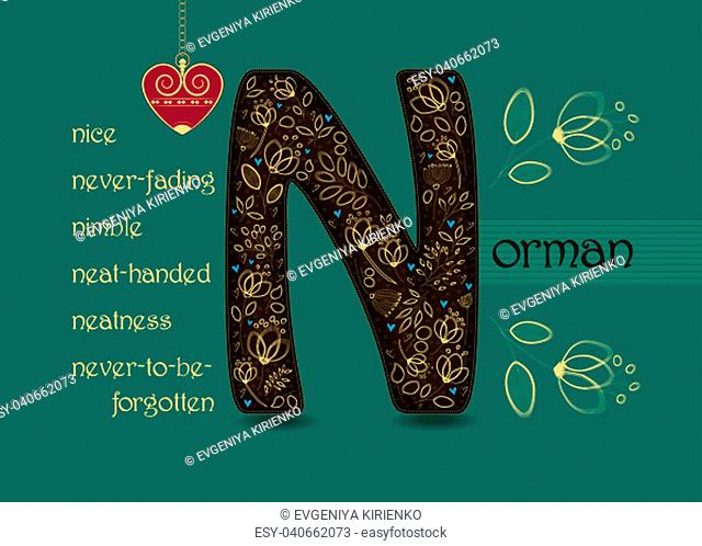 Name Day Card for Norman. Brown letter N with golden floral decor. Vintage heart with chain. Words begining with the letter N - nice, nimble, never-fading