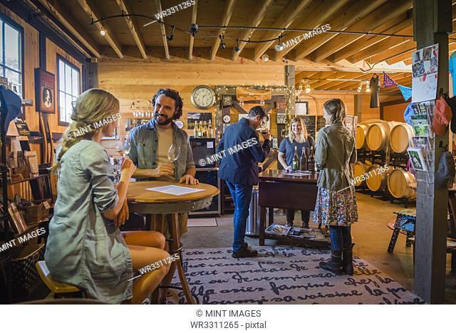 Caucasian people drinking wine in winery