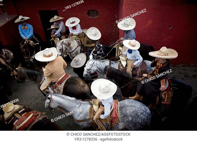 Mexican charros attend at the National Charro Championship in Pachuca, Hidalgo State, Mexico. Escaramuzas are similar to US rodeos