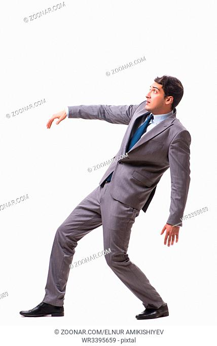 Young puppet businessman isolated on white background