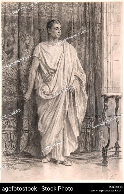 Standing Roman. Artist: Attributed to Sir Lawrence Alma-Tadema (British (born The Netherlands), Dronrijp 1836-1912 Wiesbaden); Date: late 1860s-70s; Medium: Pen...