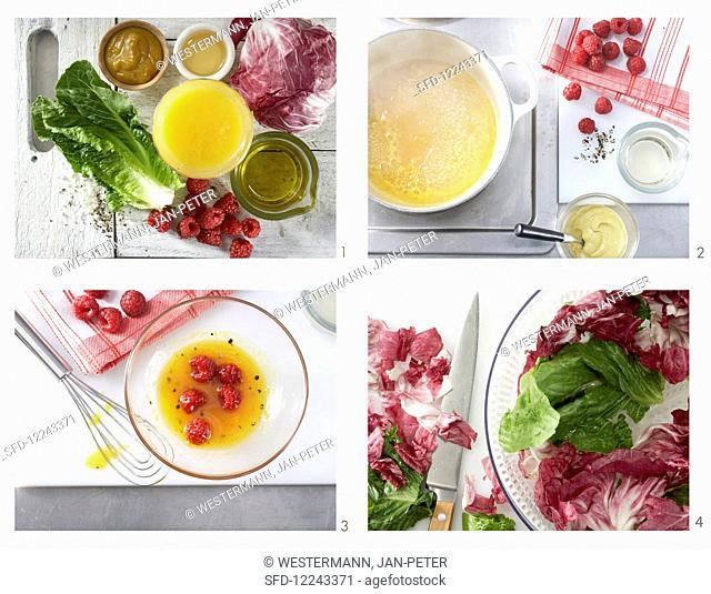 How to make a fruity leaf salad with a raspberry dressing