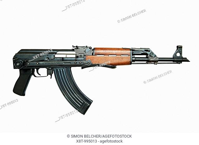 Kalashnikov AK47 Automatic Assault Rifle Against a White Background