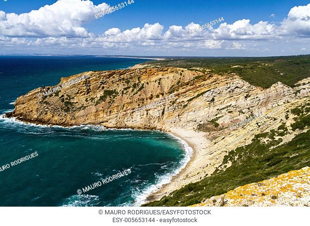 View of the beautiful coastline near Cape Espichel, Sesimbra, Portugal