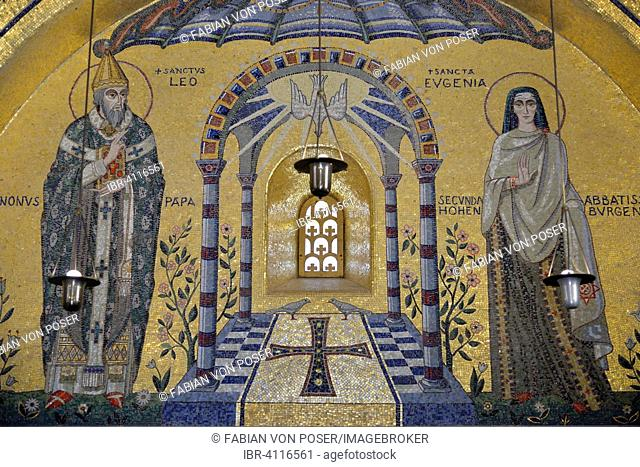 Mosaic wall in the Chapel of Tears, Odilien monastery on Odilien mountain in Ottrott, Département Bas-Rhin, Alsace, France