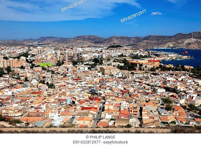 View over the city of Cartagena, Region Murcia, Spain
