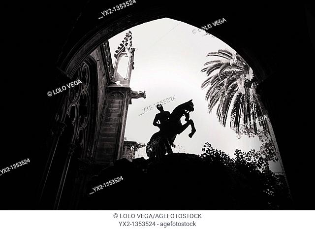 Silhouette of Saint George statue, cathedral, Barcelona, Catalonia, Spain
