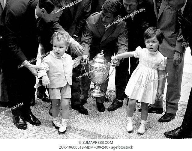 May 18, 1960; Paris, FRANCE; Children of Prince Rainier and Princess Grace Kelly of Monaco, PRINCE ALBERT and PRINCESS CAROLINE holding the Cup Final Trophy the...
