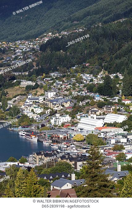 New Zealand, South Island, Otago, Queenstown, elevated town view, morning