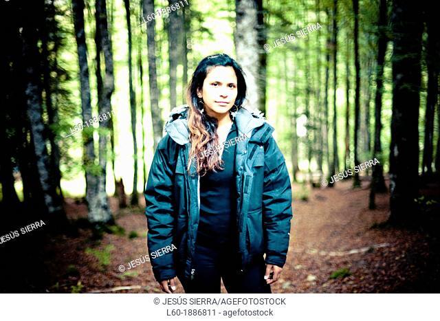 Girl in Selva de Irati, Navarre, Spain