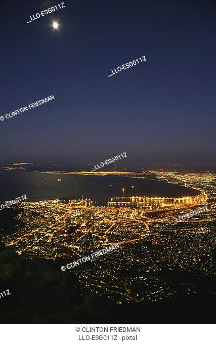 Aerial View of Cape Town Harbour at Night  Cape Town, Western Cape Province, South Africa