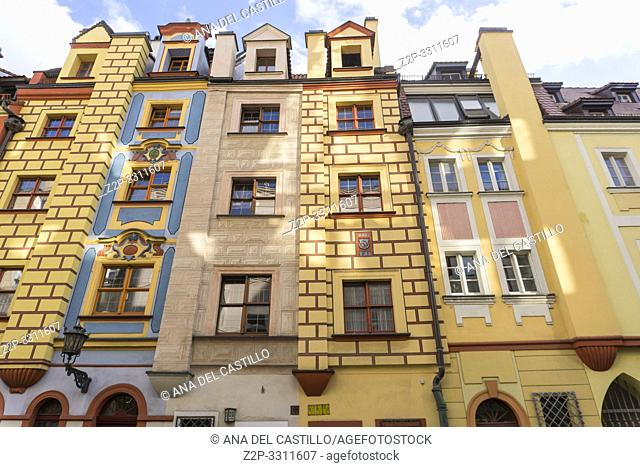 WROCLAW POLAND ON SEPTEMBER 27, 2018: Wroclaw colorful houses in old town Poland