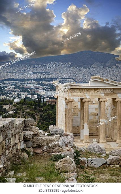 Erechtheion ancient Greek temple on the north side of the Acropolis Athens Greece