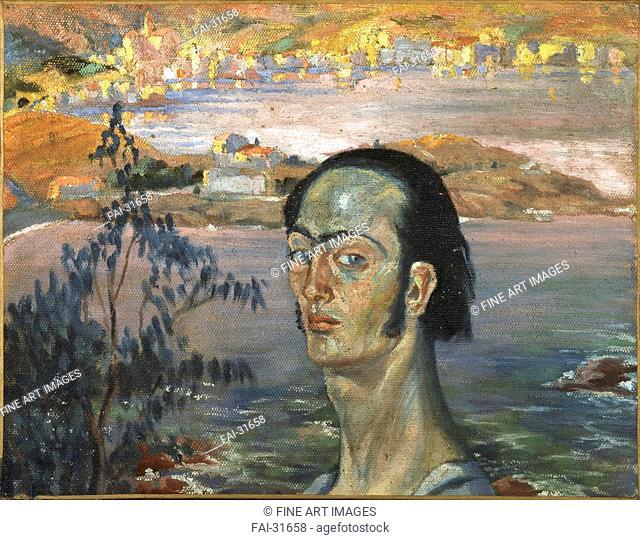 Self-portrait with Raphaelesque neck by Dalí, Salvador (1904-1989)/Oil on canvas/Surrealism/ca 1921/Spain/Teatre-Museu Dalí, Figueres/40