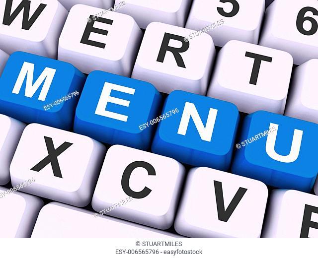 Menu Keys Showing Ordering Food Dishes Online