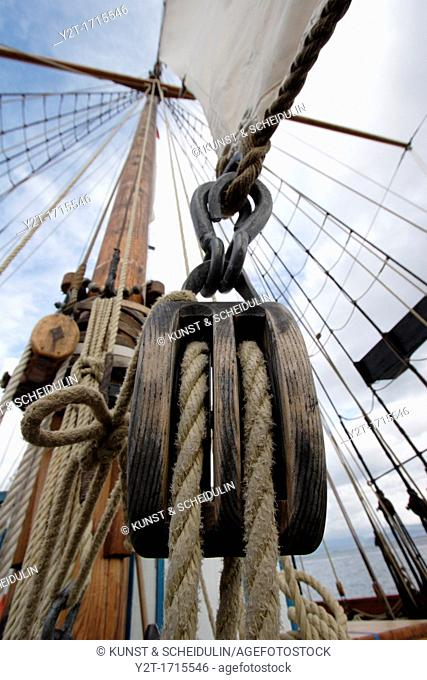 Mast and sails of the Anna Rogde of Harstad in Norway, the worlds oldest sailing schooner